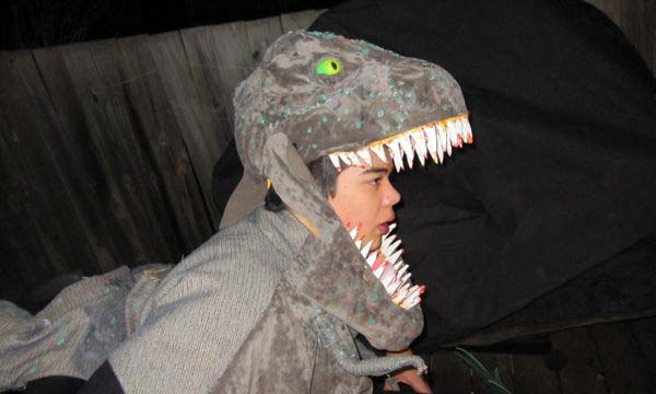 Jon in T. rex costume: close-up of head