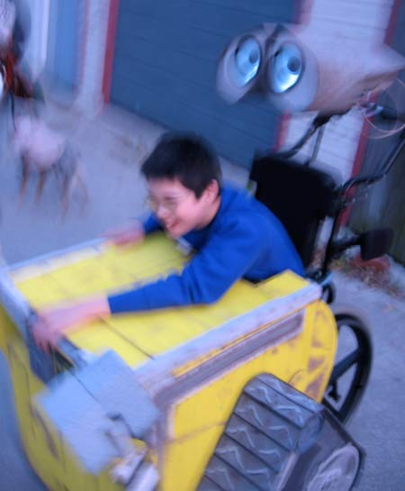 Jon as Wall-E, blurred but happy