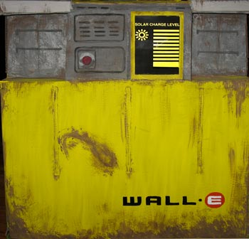 Wall-E front with glowing solar battery display