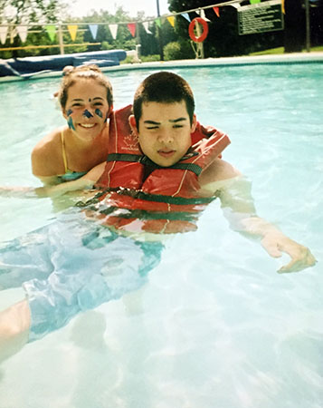 Jon and a counsellor in pool