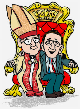 Bishop & president cozy on a throne