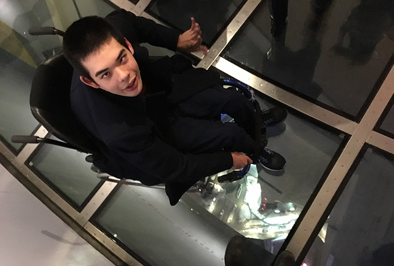 Jon on the CN Tower's glass floor