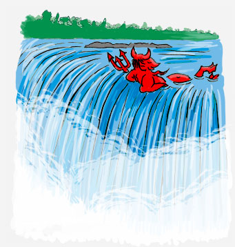 Devil in a pool at the top of a waterfall