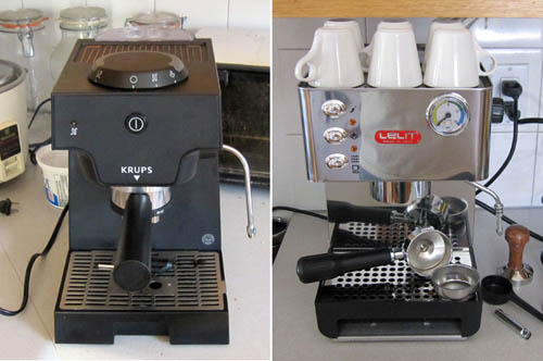 Old and new espresso machines