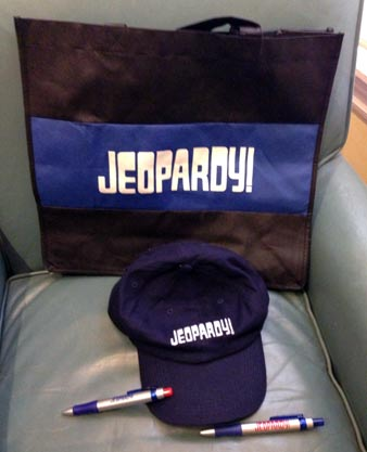 Jeopardy! bag, pens and hat