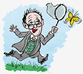cartoon of nabokov chasing butterfly